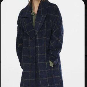 COPY - Express Navy windowpane plaid blanket coat
